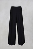 Crash Wide Fit Trousers with Pleat in Nero