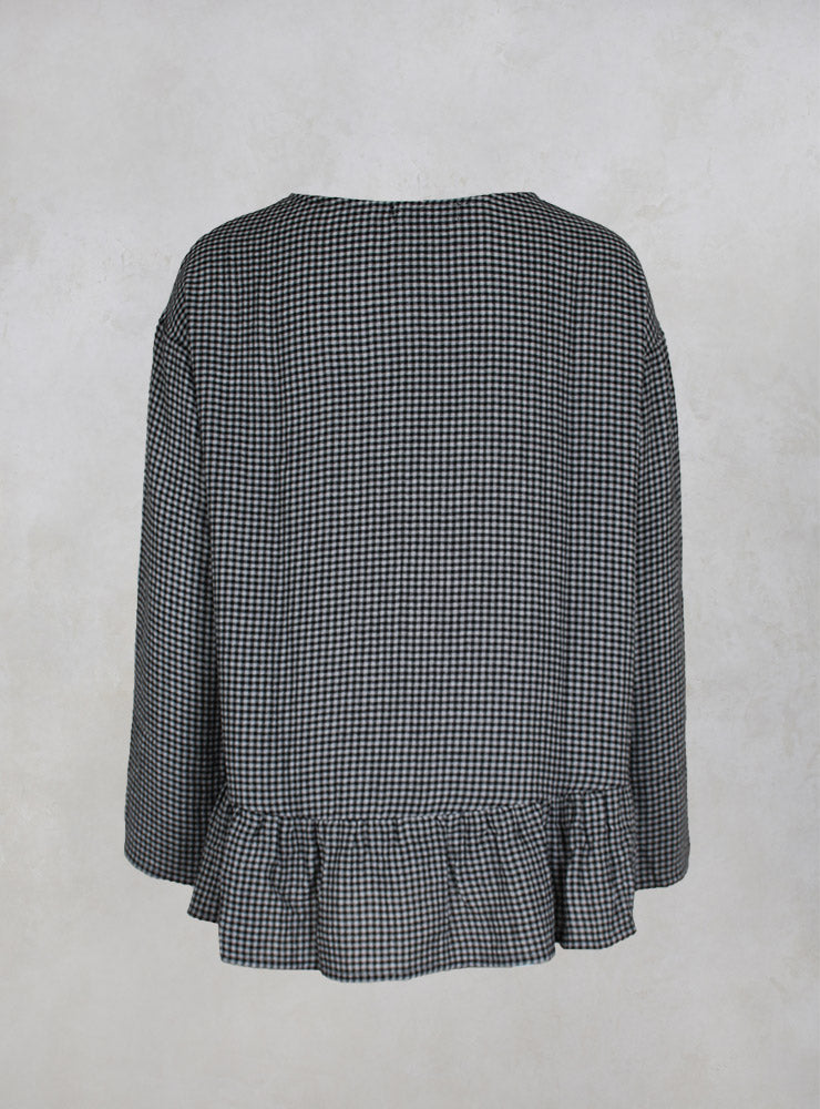 Lione Q Check Blouse with Pleated Back at Hem in Nero
