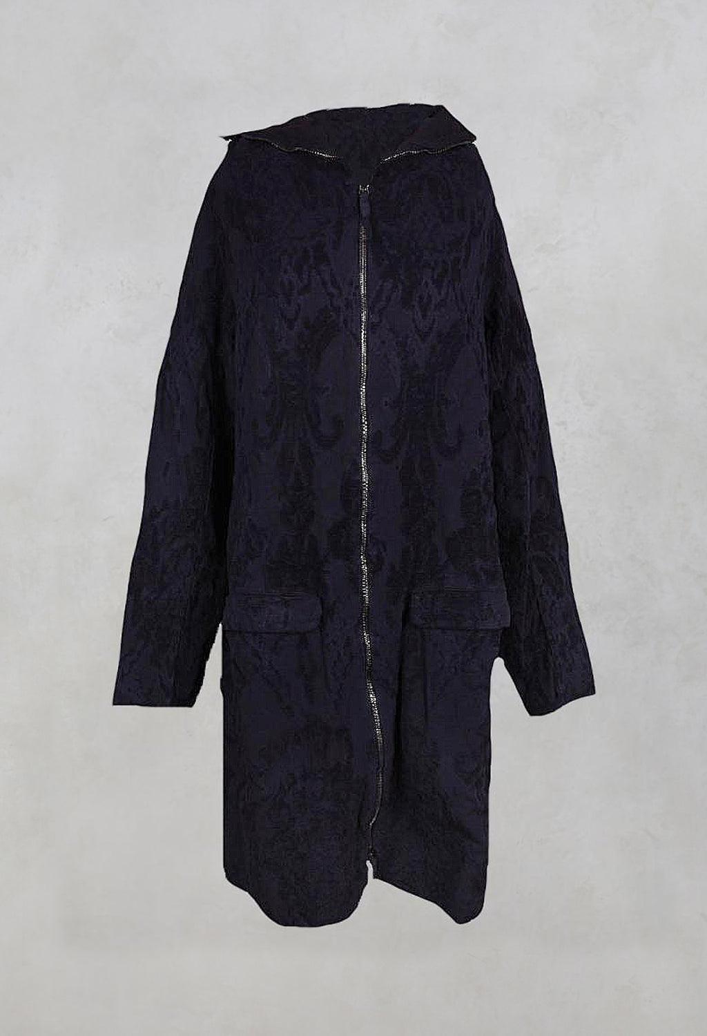 Oversized Textured Fabric Coat with Hood in Rubens Cloud