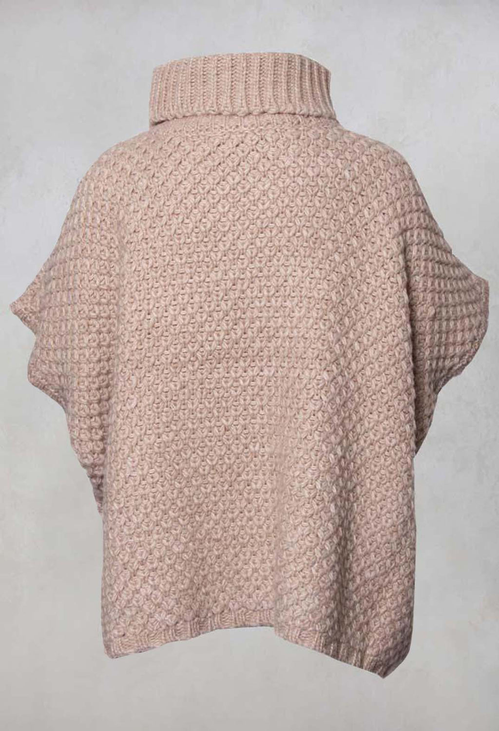 Irisou Knitted Roll Neck Poncho in Beige Rose