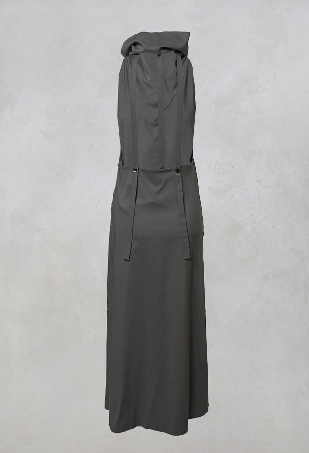 Long Backless Woven Dress with Collar in Stone