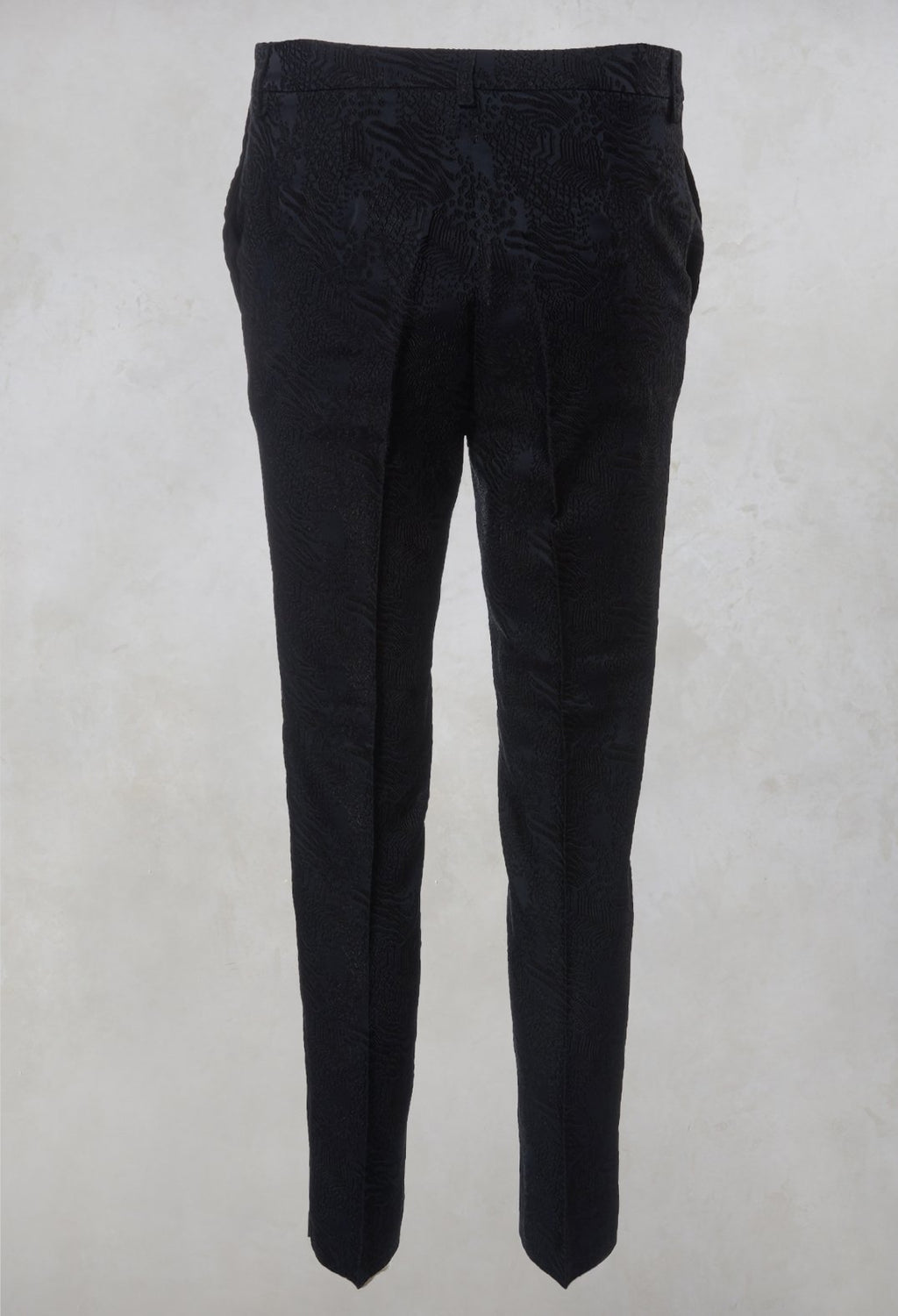 Jacquard Cigarette Trousers in Navy