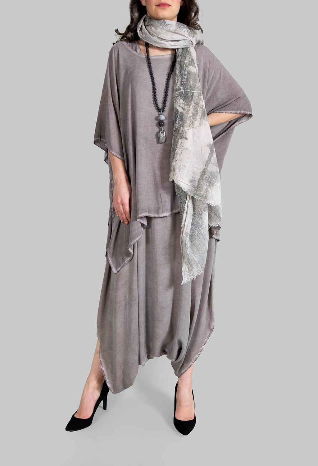 Sleeveless Drop Crotch Jumpsuit in Grey