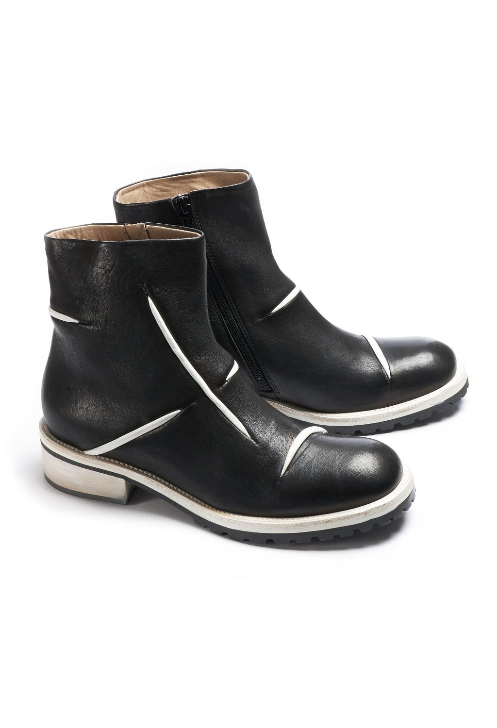 Leather Ankle Boots in Black / White