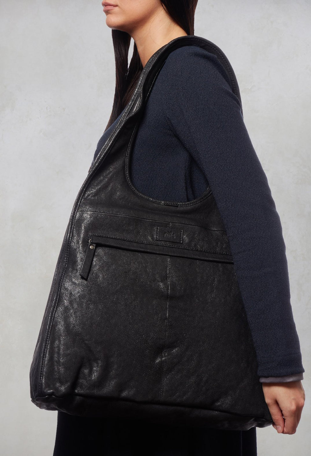 Leather Bucket Bag in Black