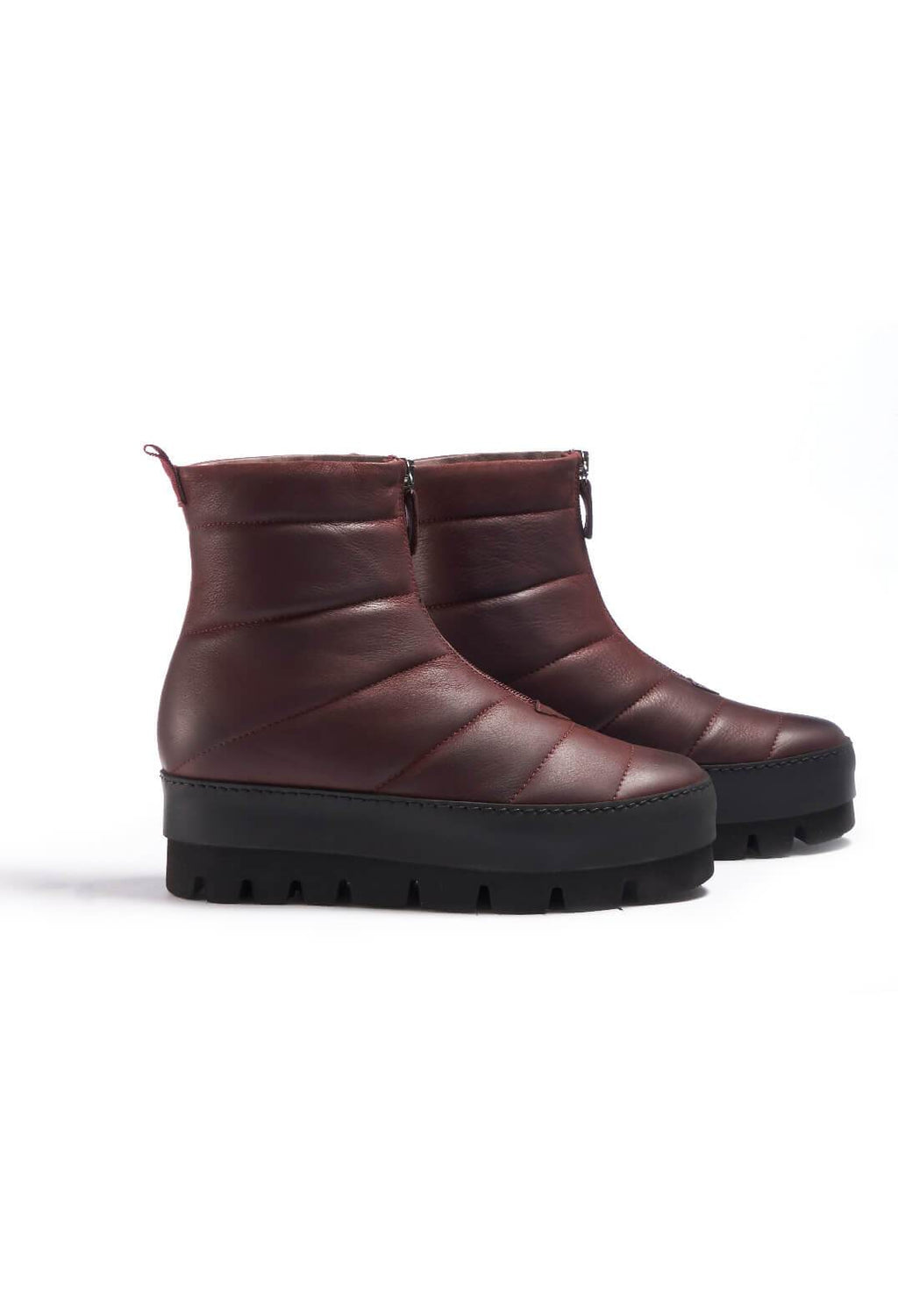 Leather Chunky Ankle Boots in Gasoline Lagrain