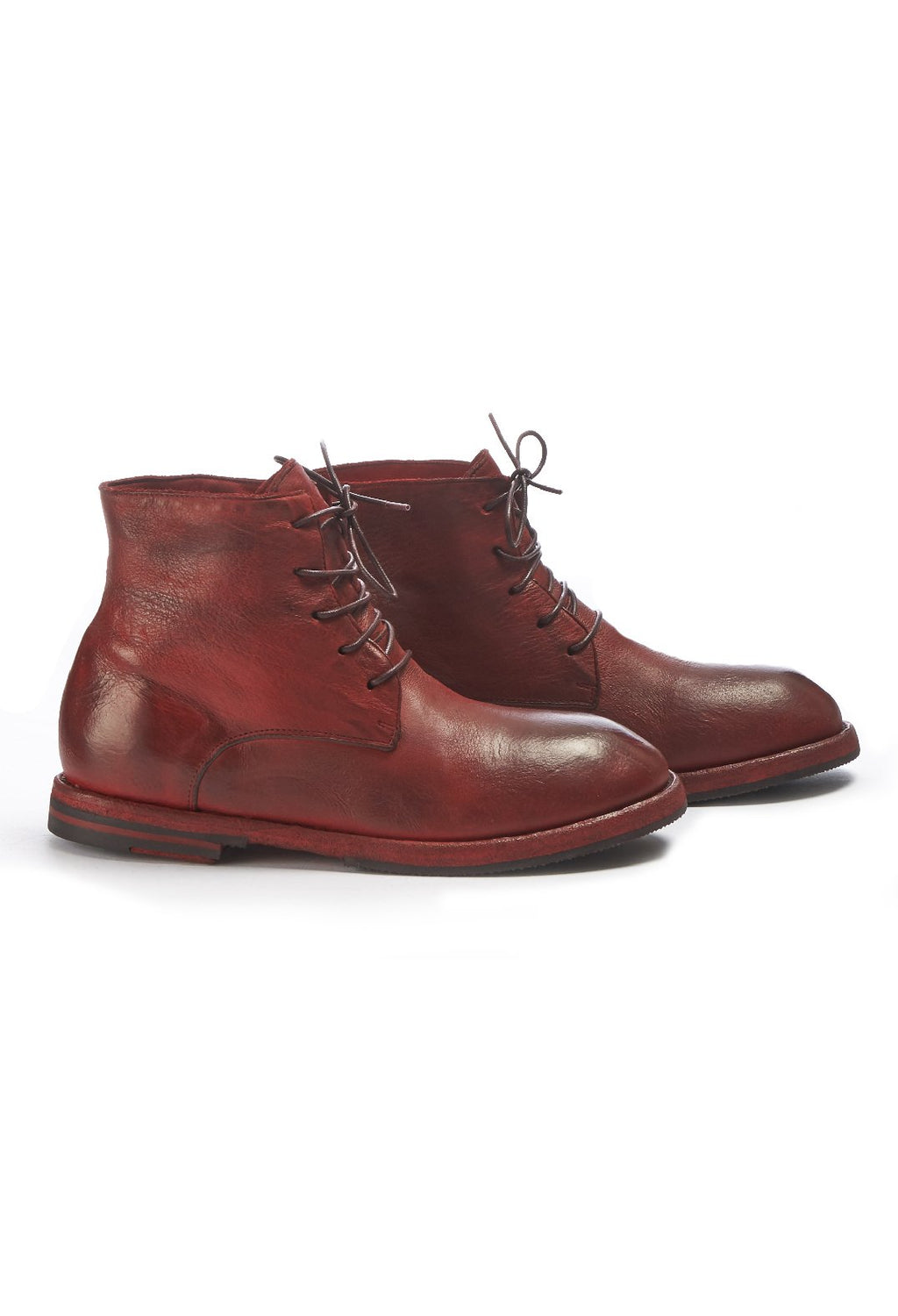 Leather Desert Boots in Karmin