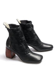 Leather Heeled Ankle Boots in Black