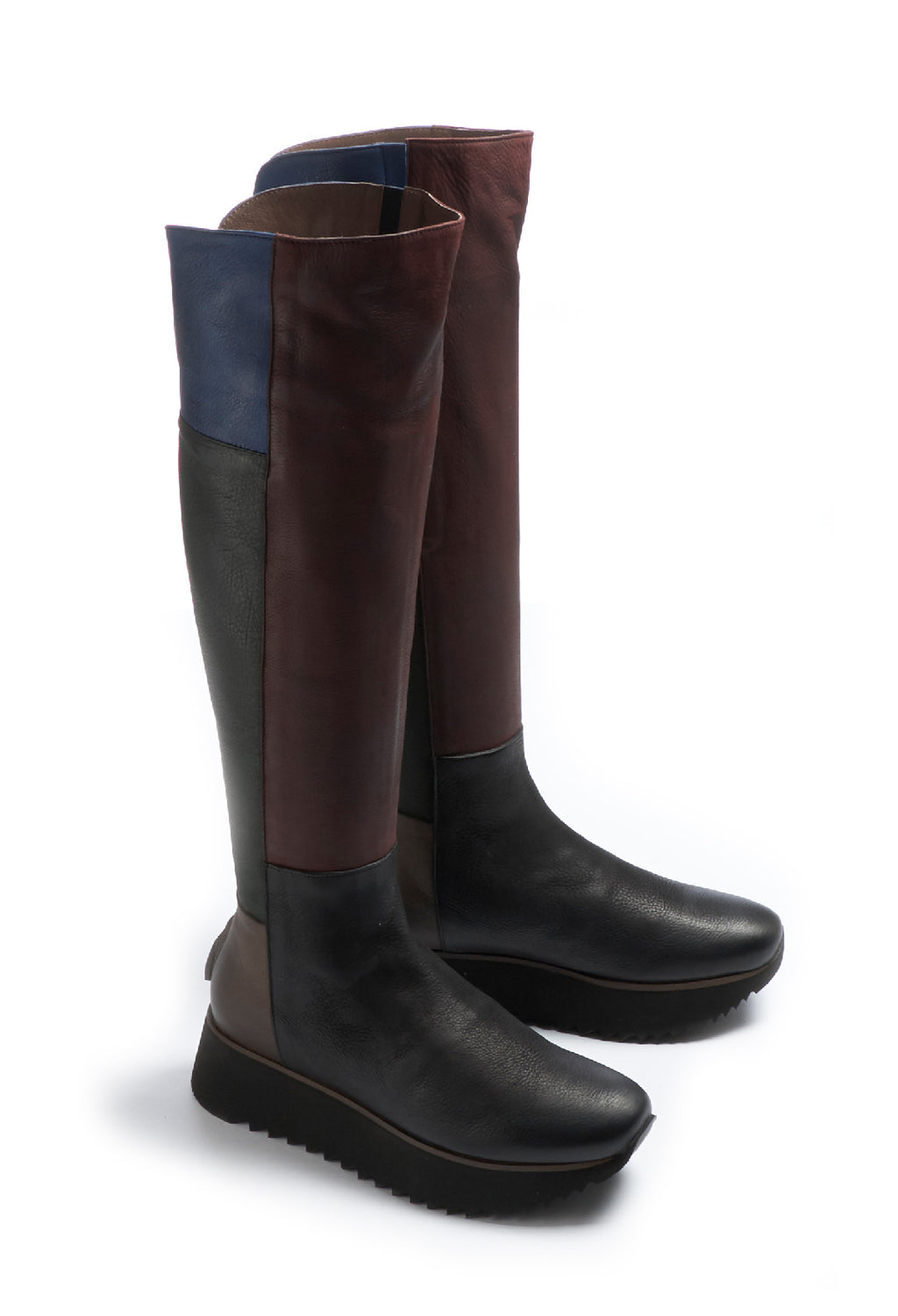 Leather Knee High Boots in Gasoline Nero / Gasoline Bottle