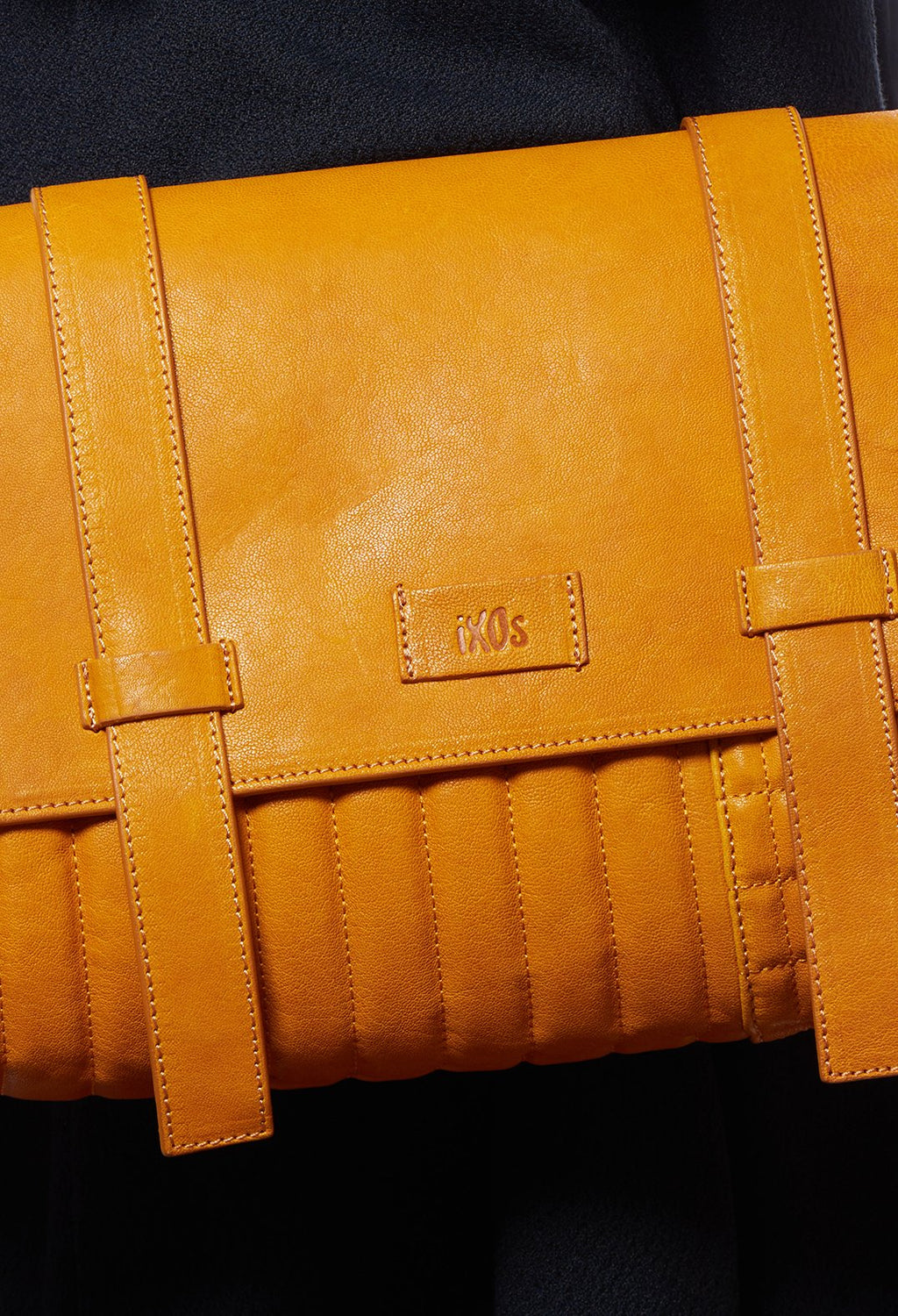 Leather Messenger Bag in Mustard