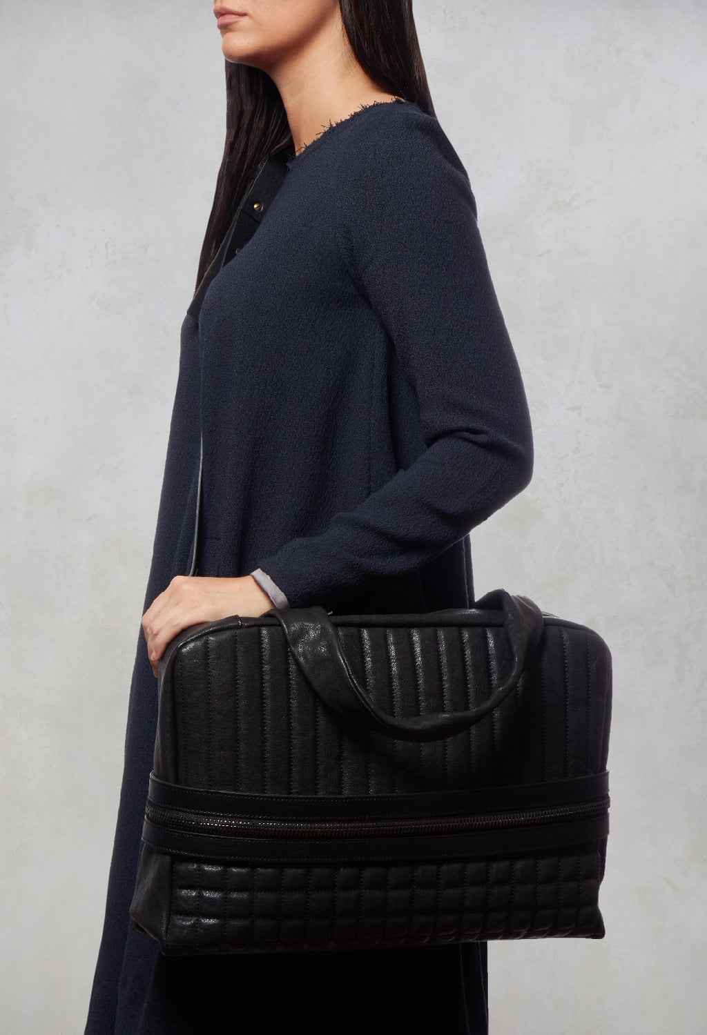 Leather Quilted Bag in Black