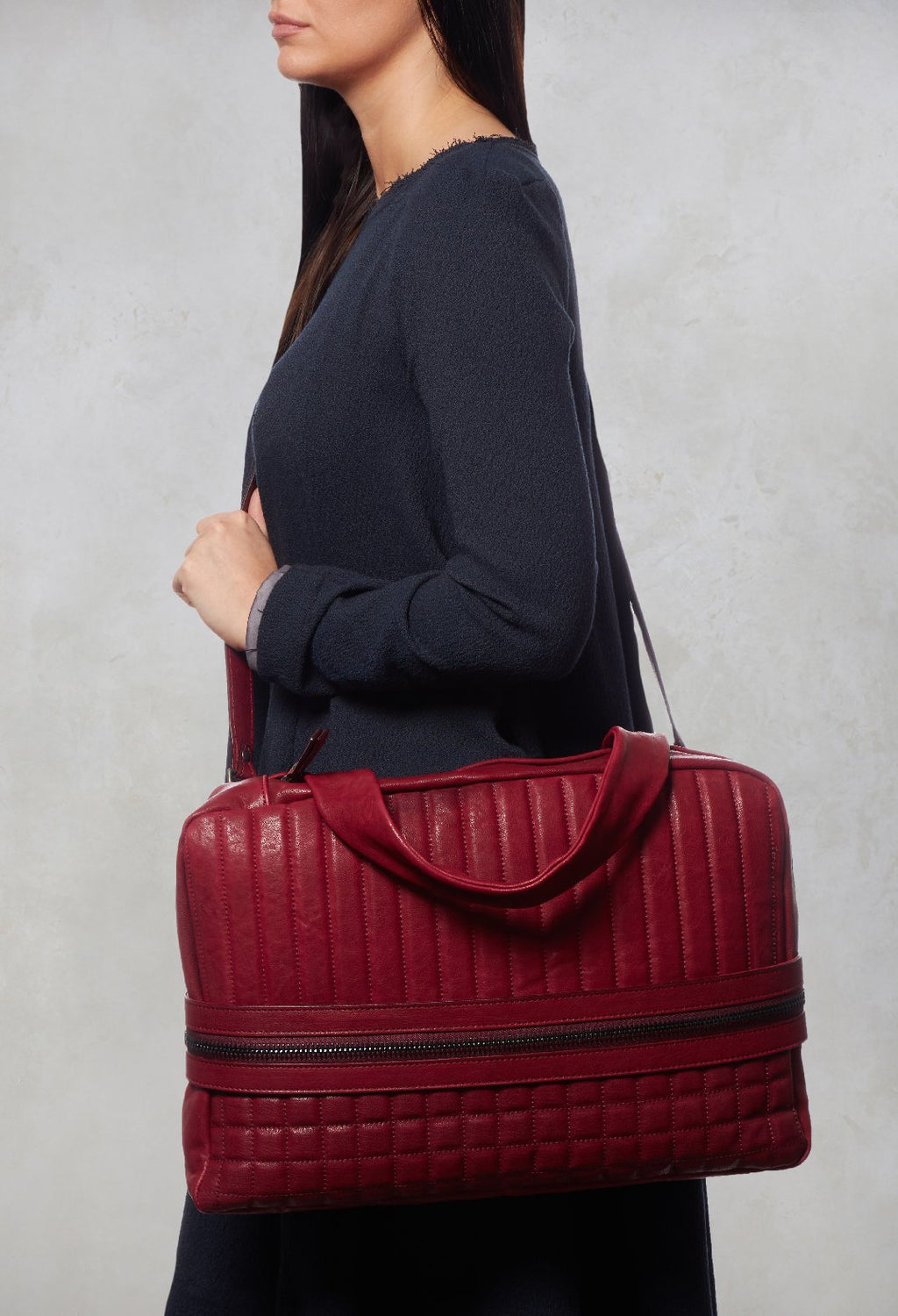 Leather Quilted Bag in Bordeaux