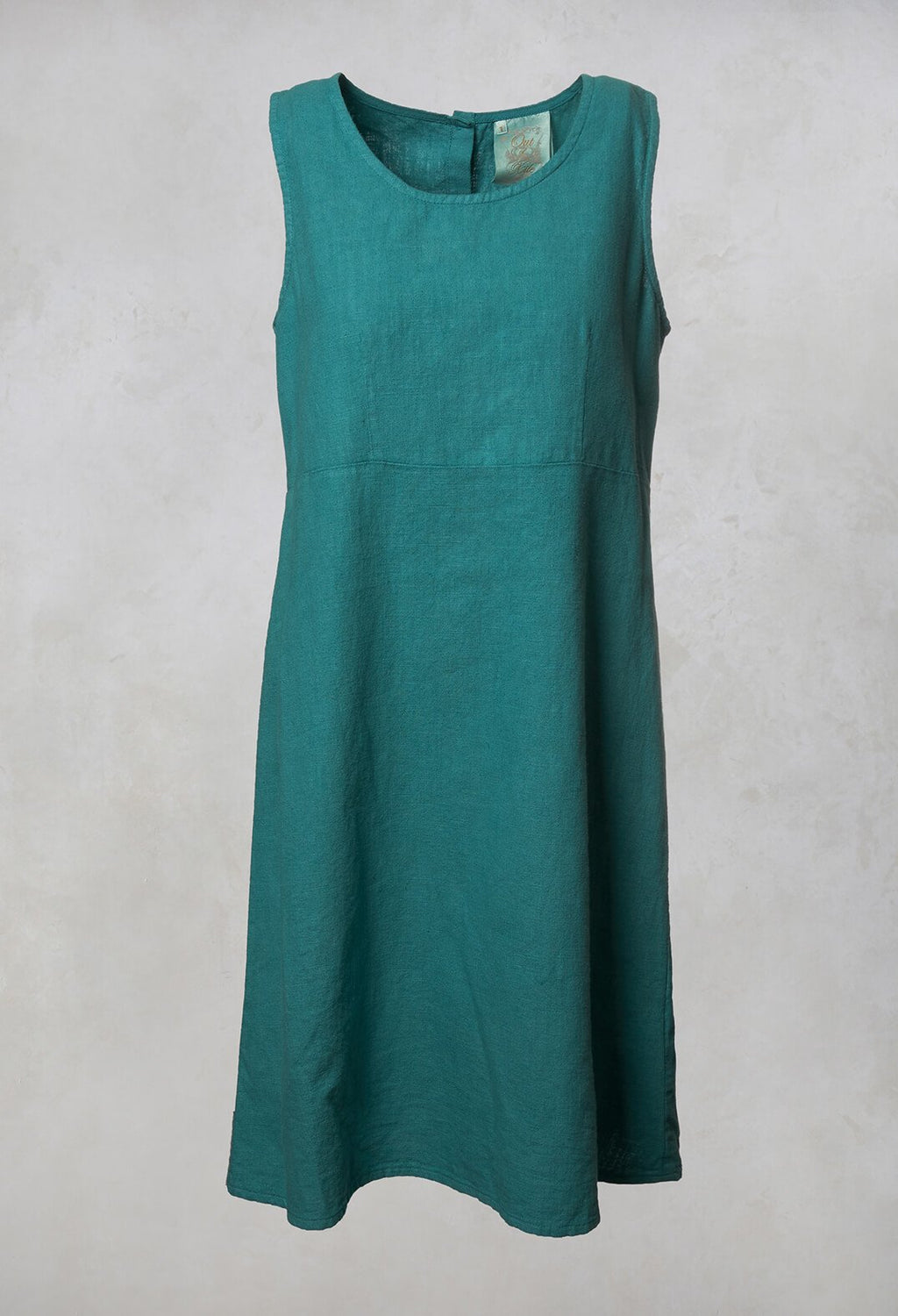 Linen Button Back Dress in Teal