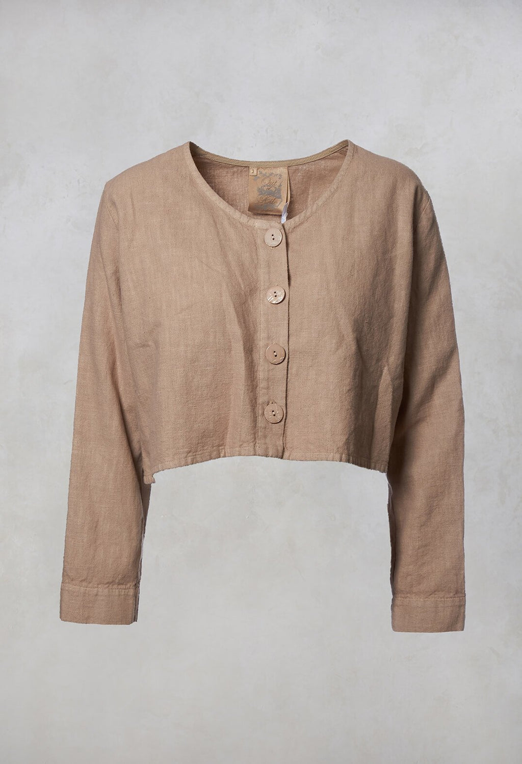 Linen Cropped Jacket in Fawn