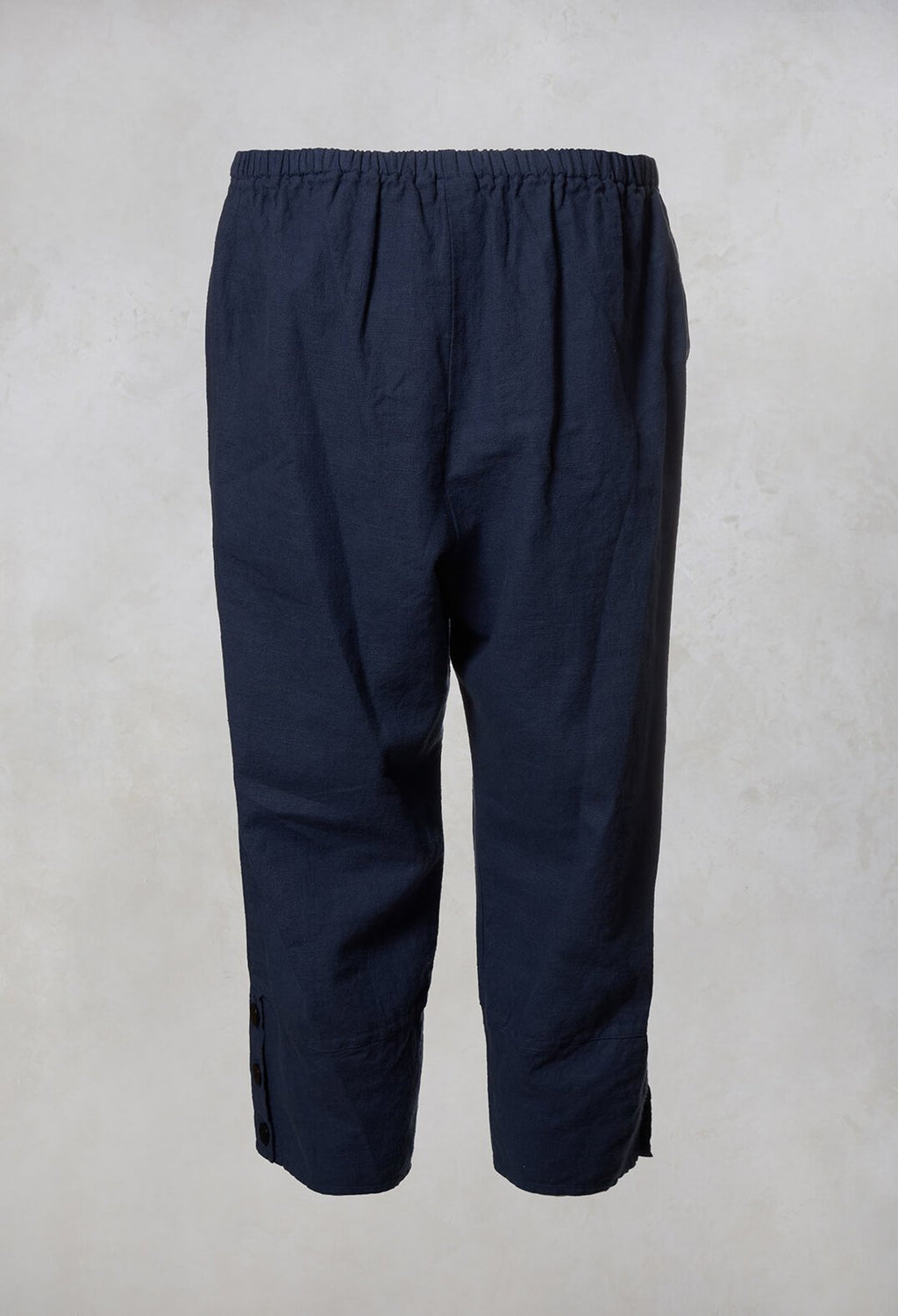 Linen Cropped Pants in Navy