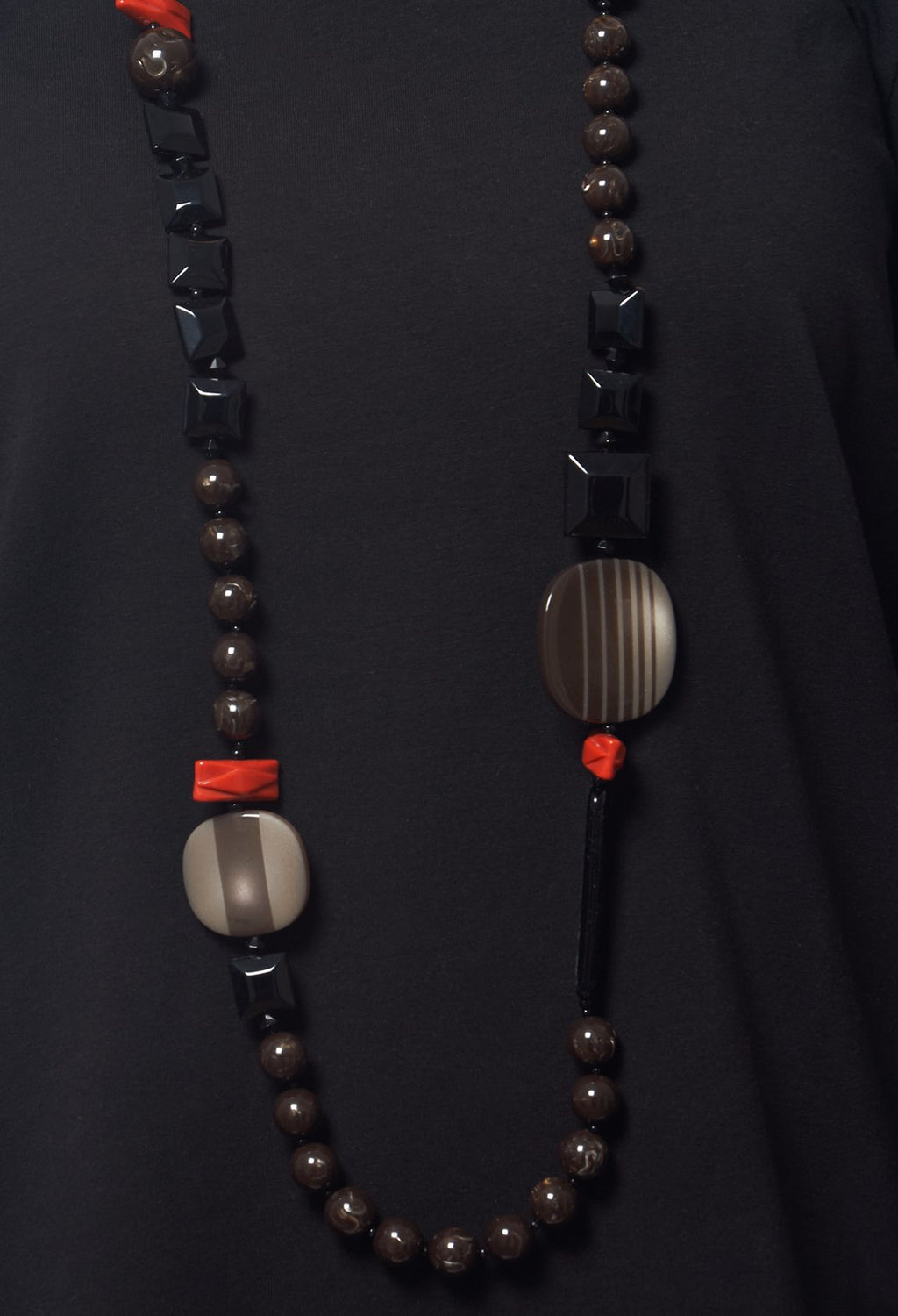 Long Beaded Necklace in Coral / Brown / Black