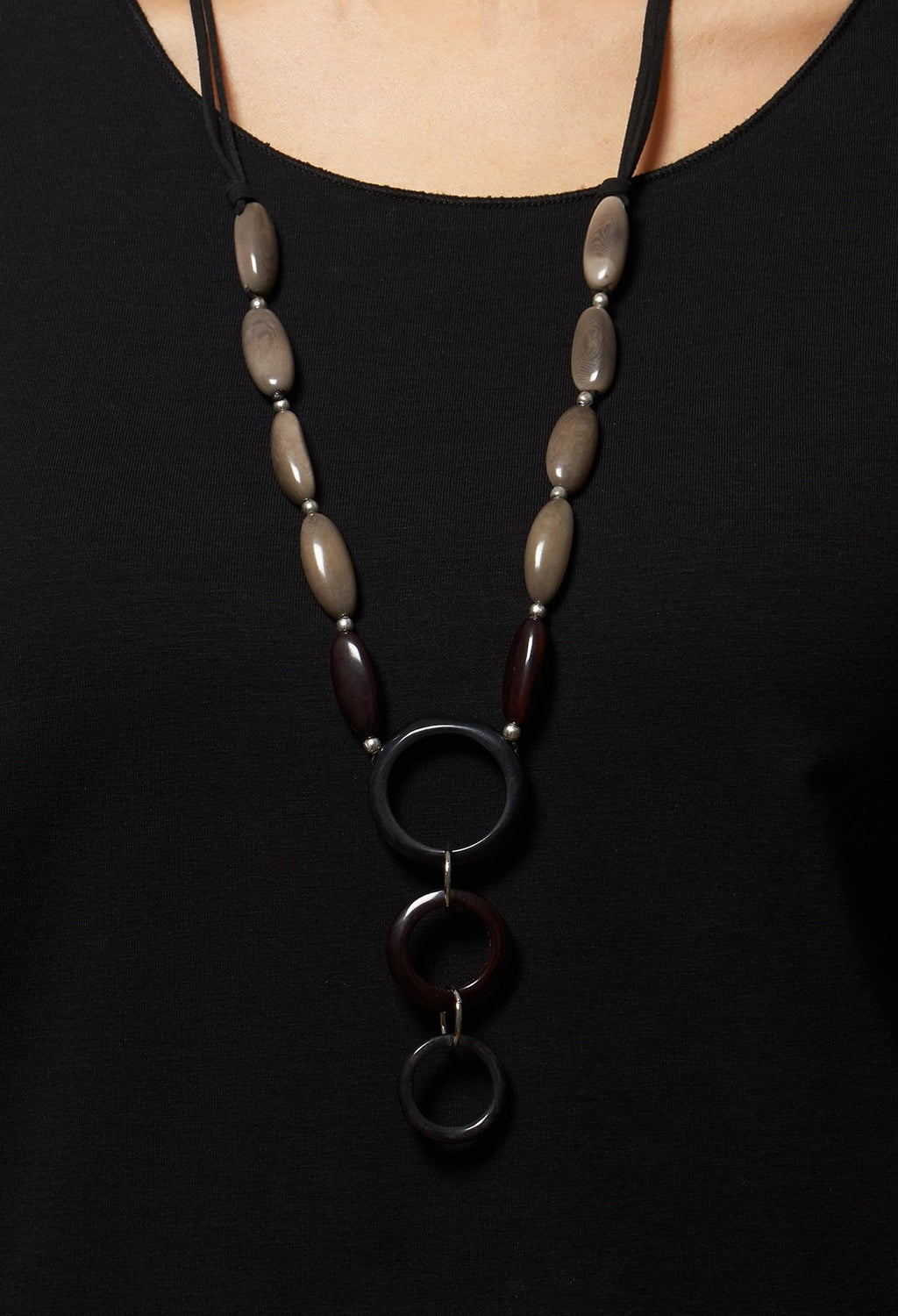 Long Beaded Necklace in Grey