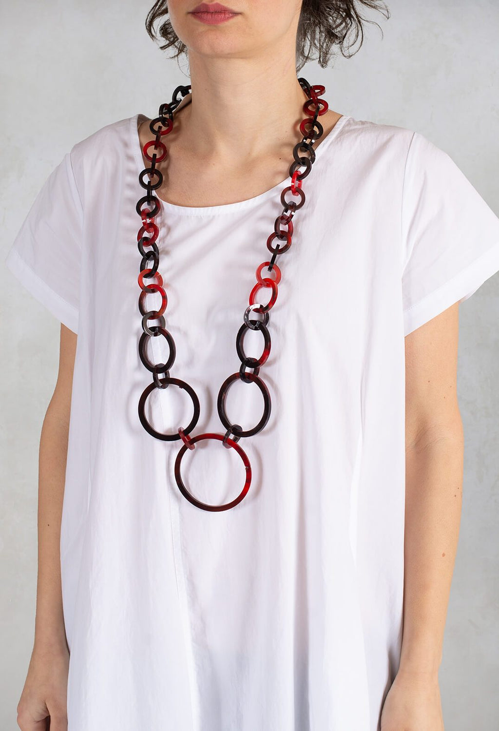 Long Chain Necklace in Red