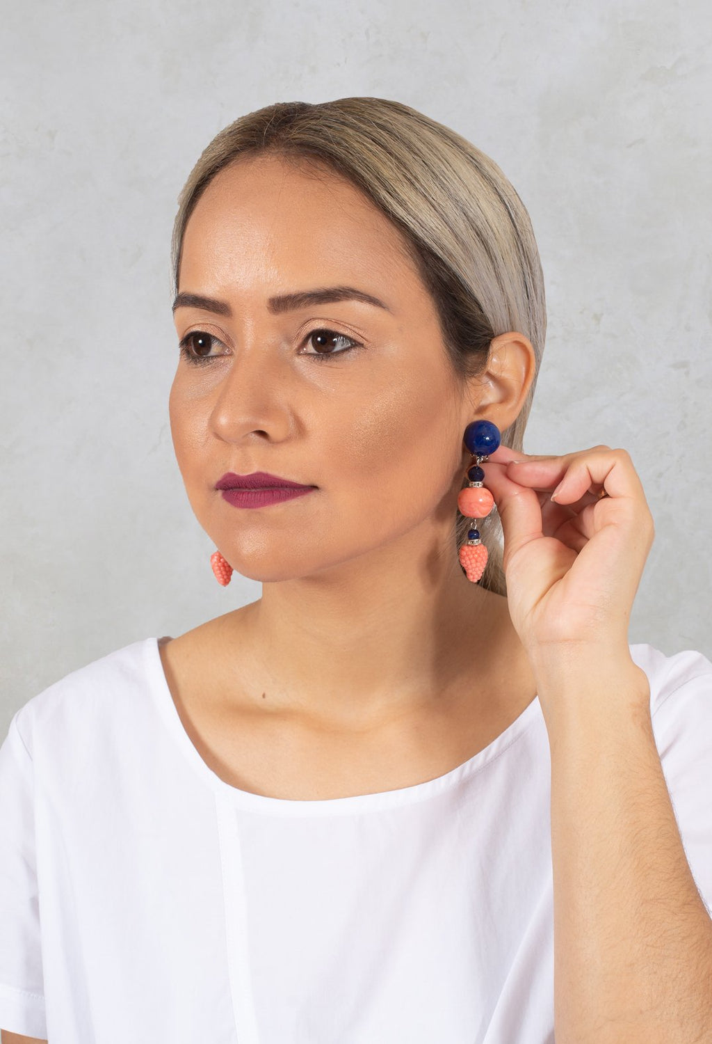 Long Earrings with Fruit in Pink / Blue