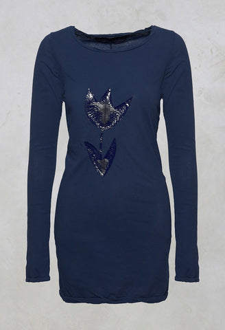 Long Sleeve T-Shirt in Blue Print