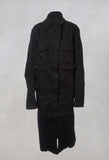 Longline Military Coat in Black