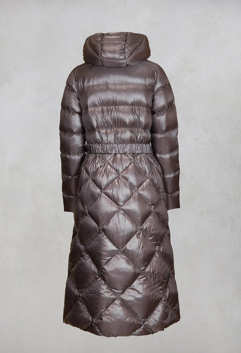 Longline Puffer Coat in Mud
