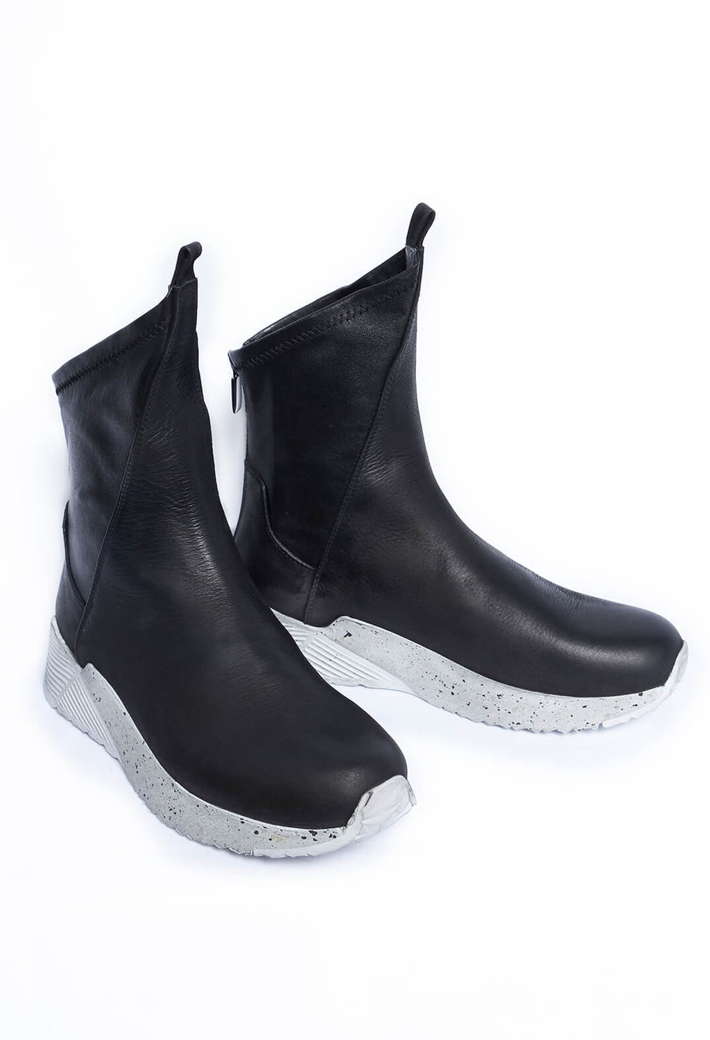 Sock Boots in Gasoline Nero / Nappa Stretch Nero