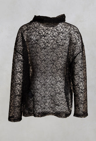 Fine Knit Jumper Shirt Tuza in Black