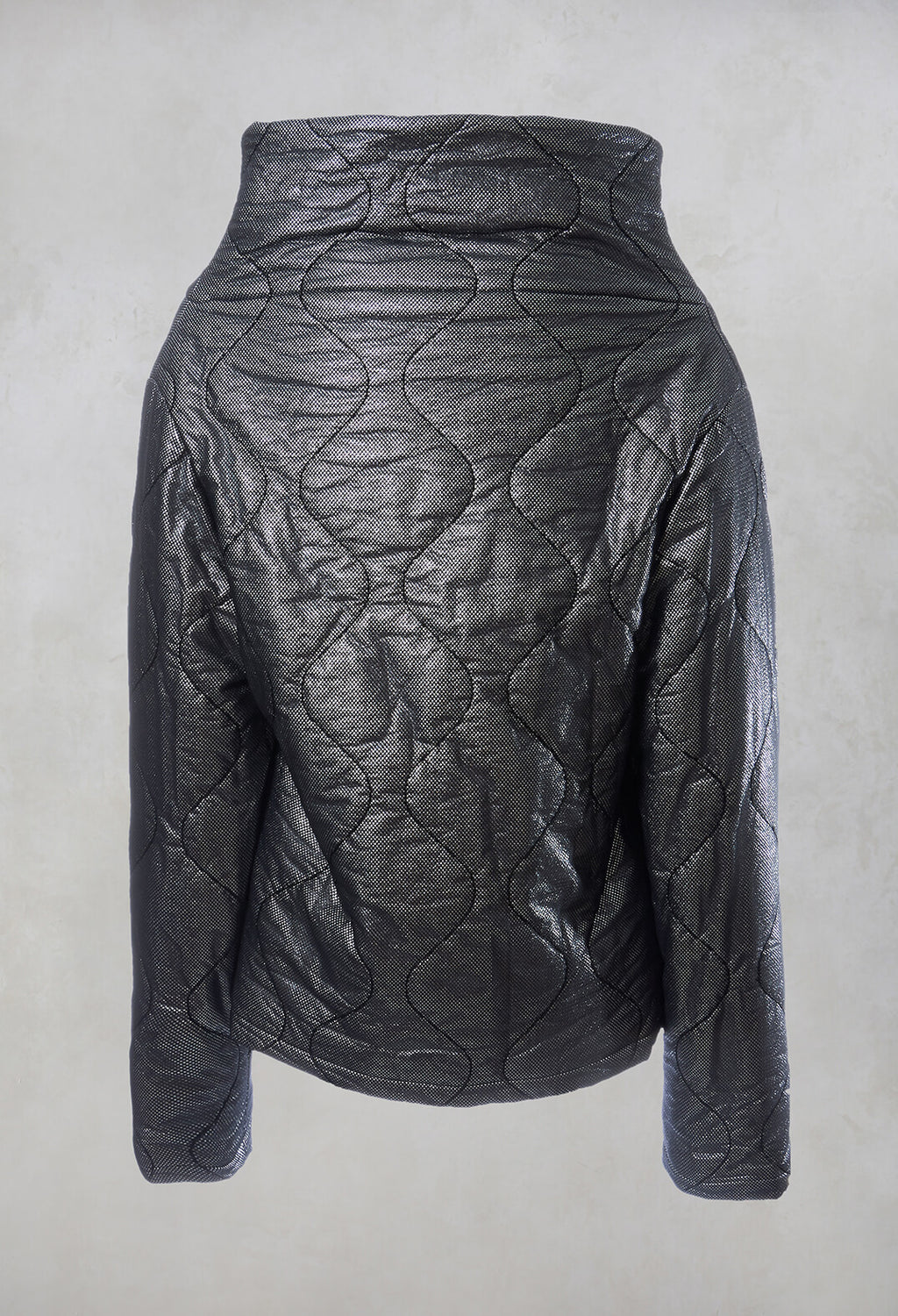 Metallic Puffer Jacket in Ortoclasio Black / Silver