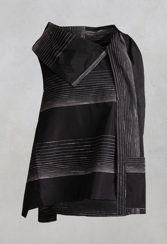 Metallic Stripe Top Kiti1 in Black / Silver