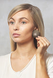 Mini Stripe Circle Earrings in Grey