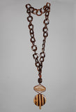 Long Chain Necklace in Resin and Wood