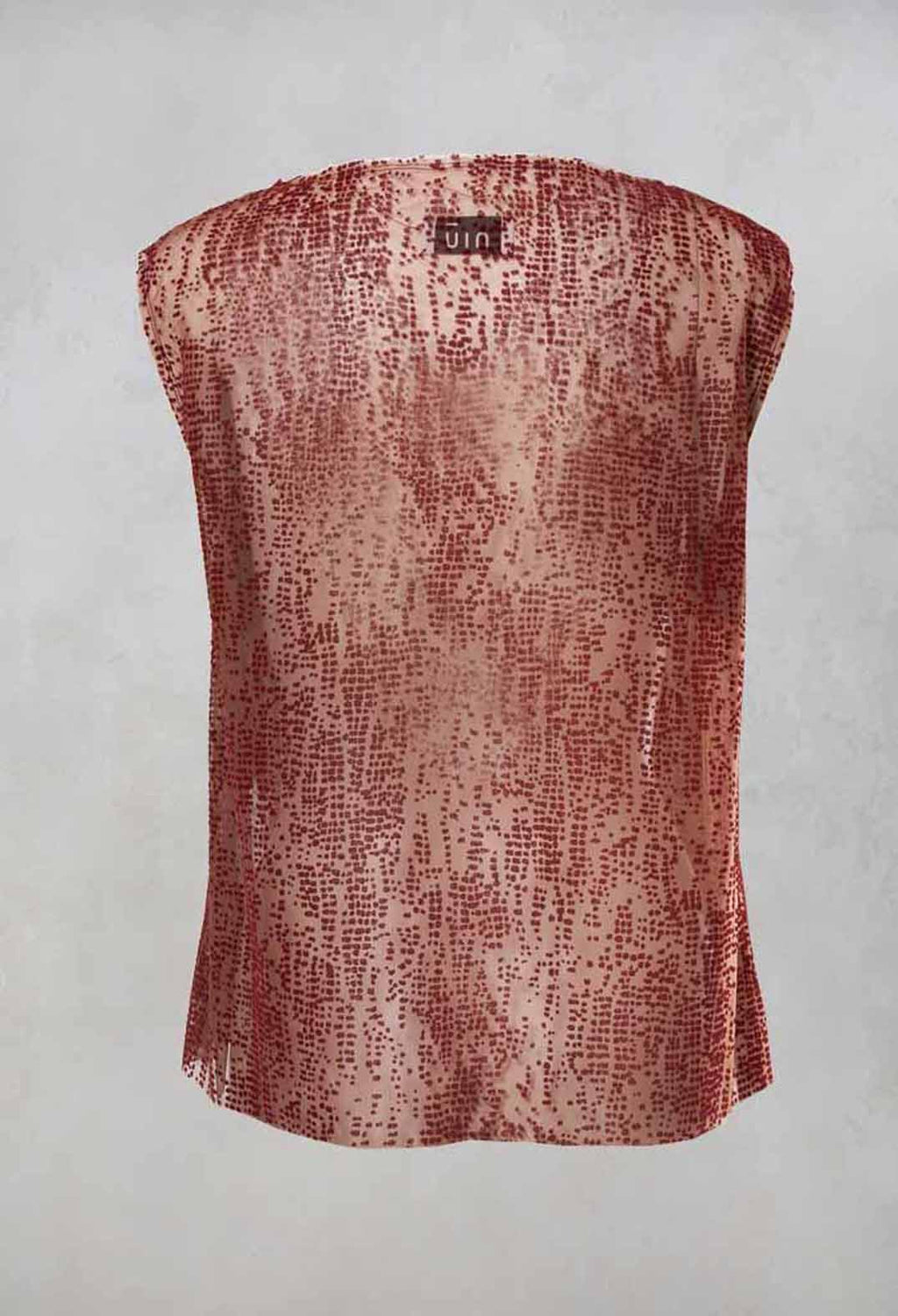 Netted Sleeveless Top in Red