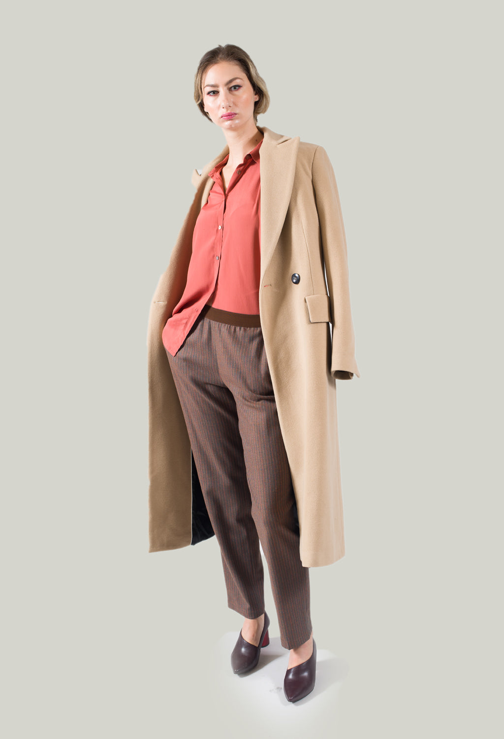 Tailored Pinstripe Trousers in Clay
