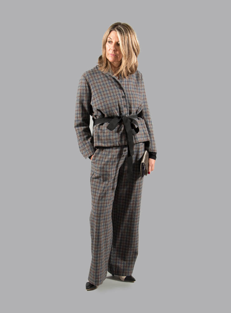 Wide Trousers with Button Front in Grey