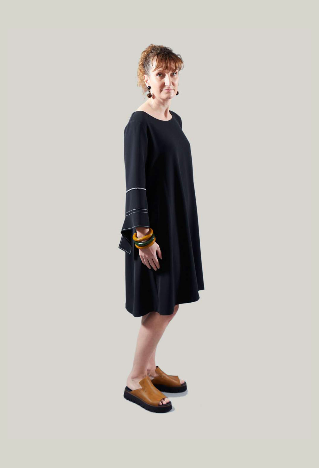 Midi Shift Dress with Sleeve Detailing in Black