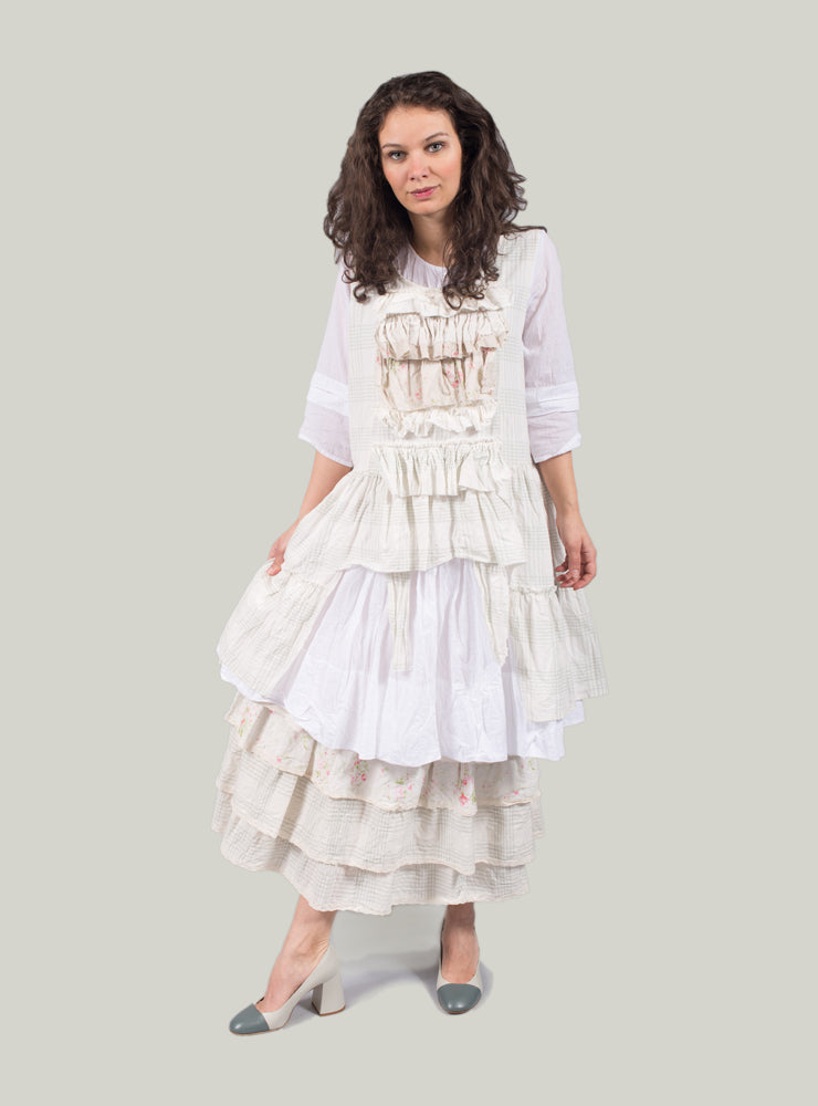 Smock Dress with Button Front in White Voile