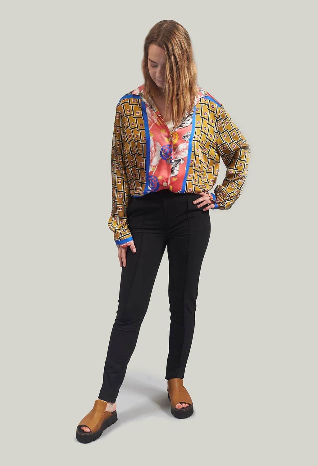 Patterned Blazer in Senape/Rosa