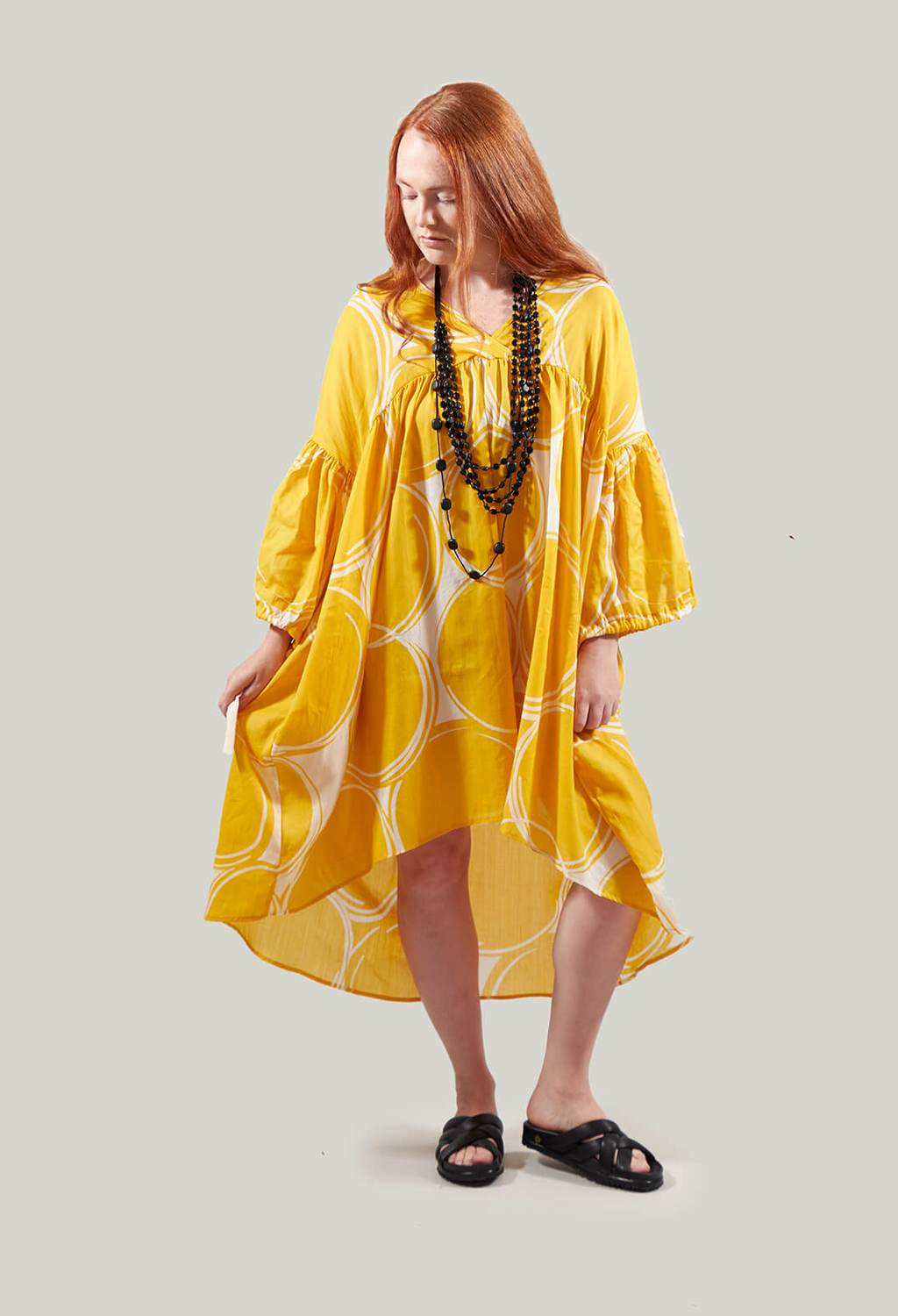 Oversized Smock Dress with High Low Hem in Yellow
