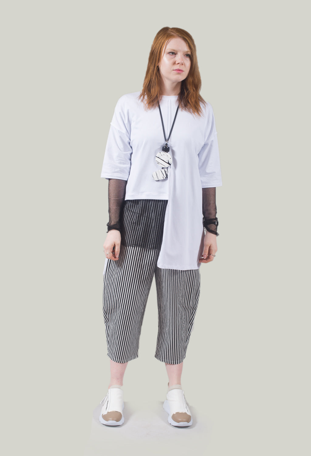 Longline T Shirt with Asymmetric Hem in Bianco