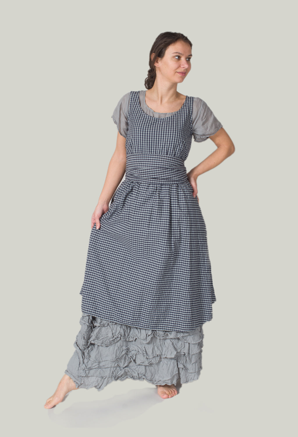 Checked Smock Dress in Donkey