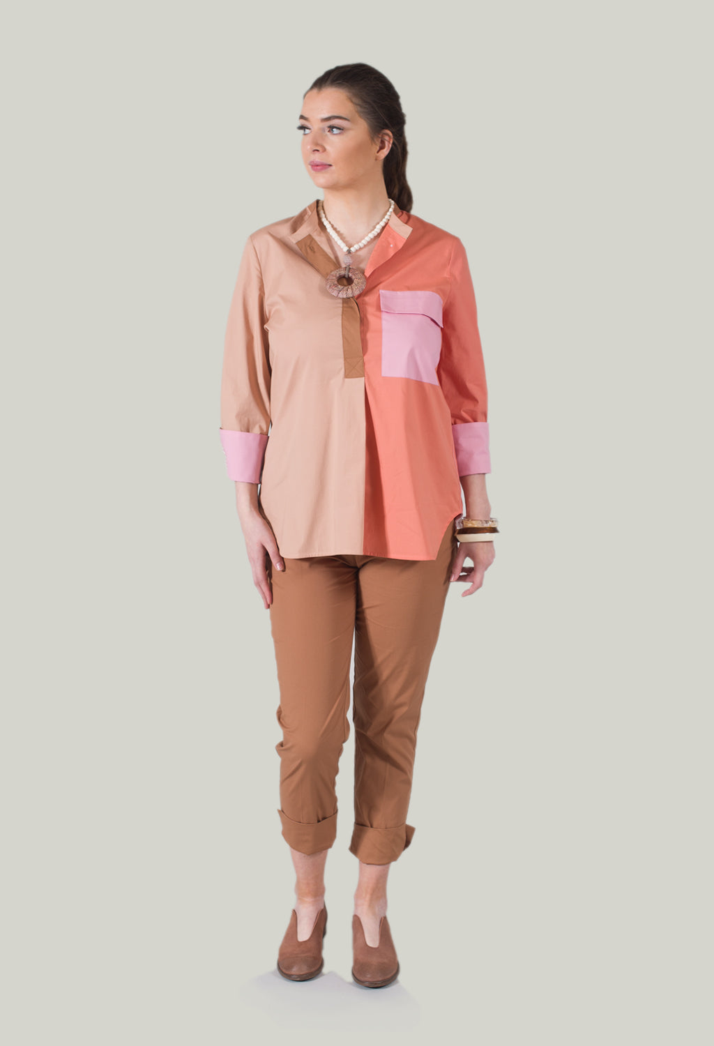 Colourblock Blouse in Light Brown