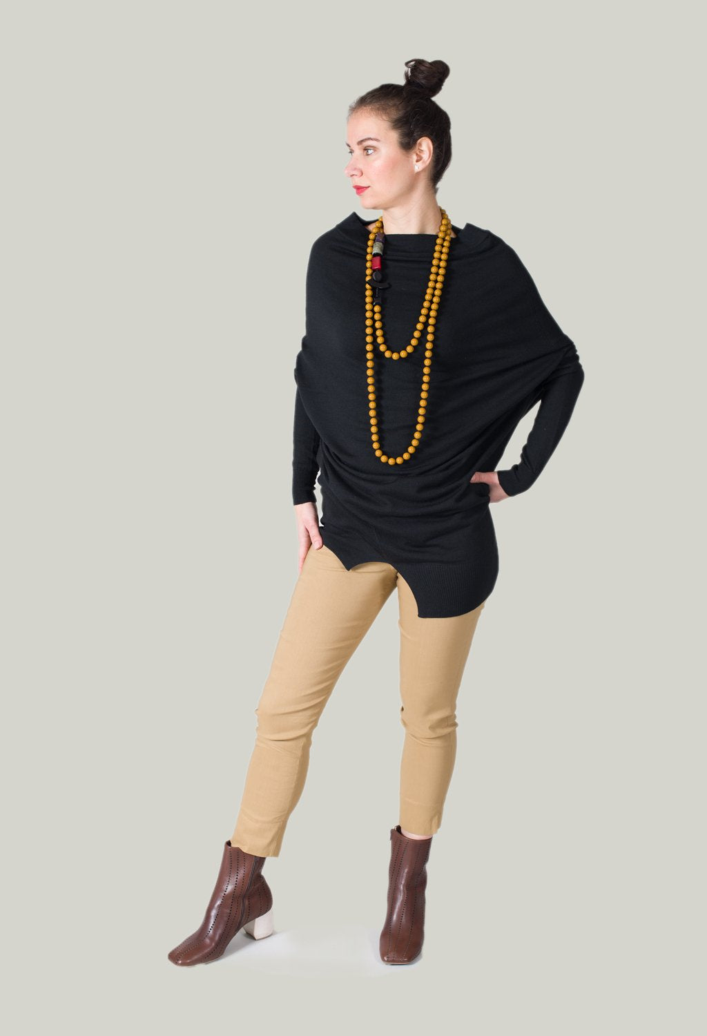 Long Beaded Necklace in Mustard