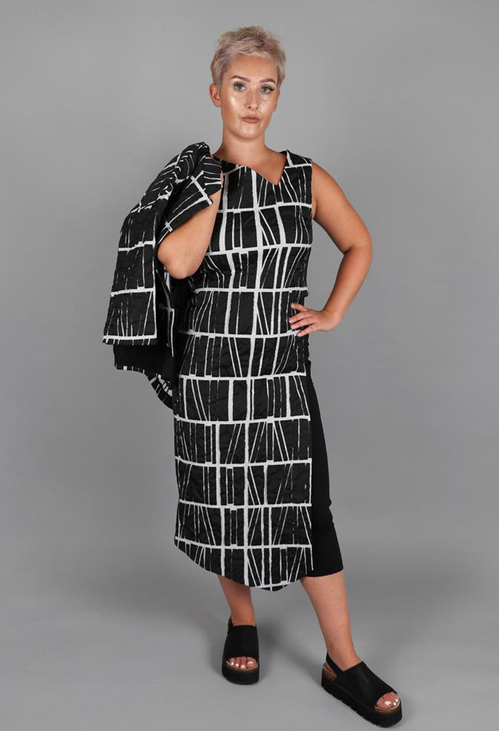 Open Side Dress with Quilt Print in Nero
