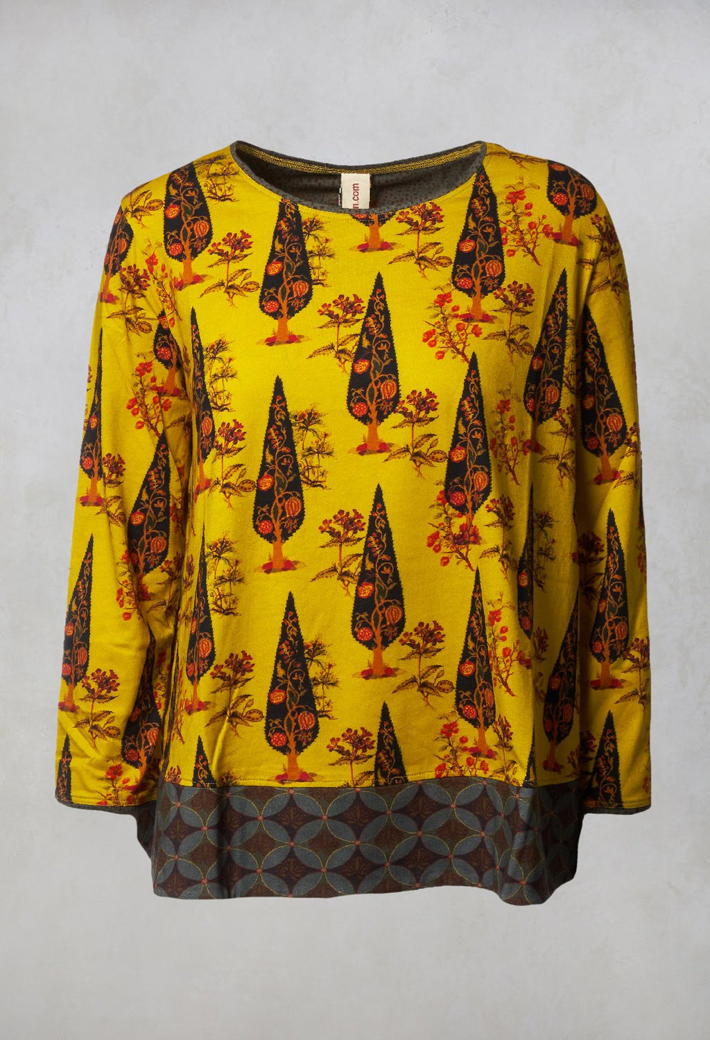 Patterned Top in Lemon Curry
