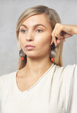 Plate Earrings in Brown / Coral / Black