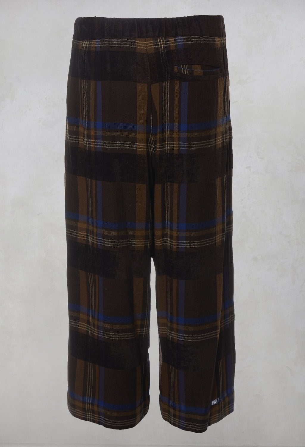 Pleated Checked Trousers in Brown