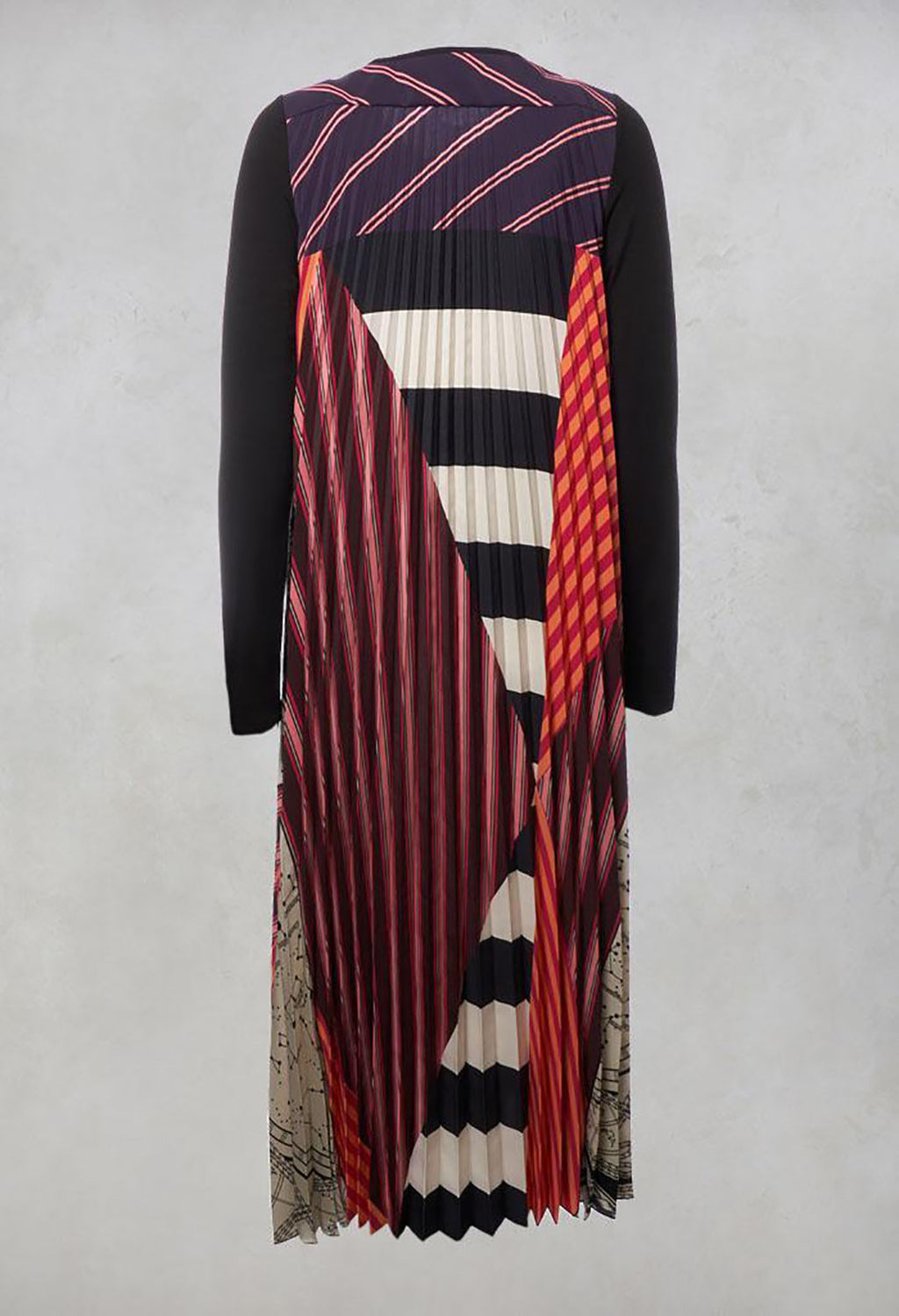 Pleated Printed Dress in Plum