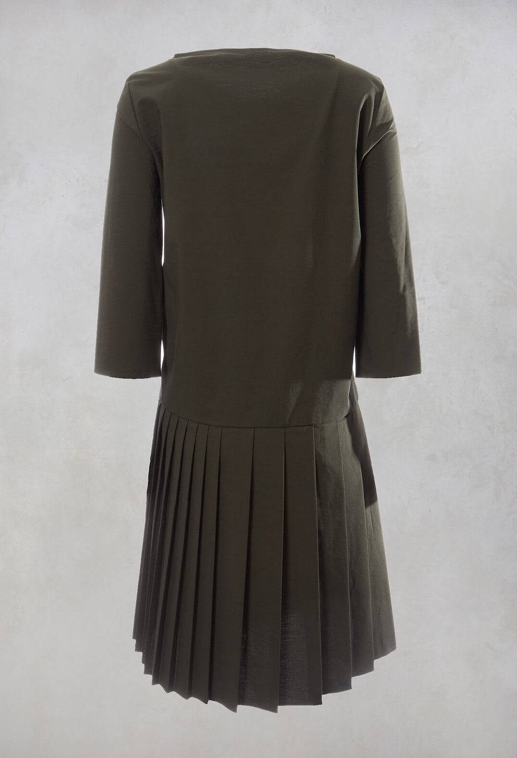 Pleated Shift Dress in Military Green