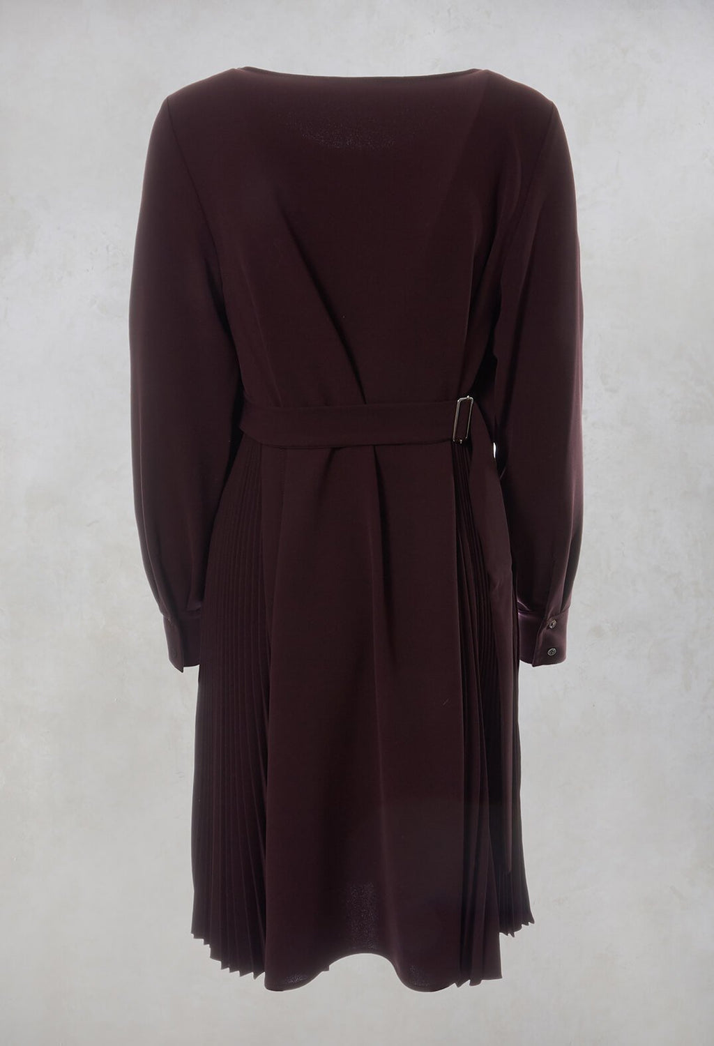 Pleated Shift Dress in Plum